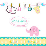 Baby girl announcement card Royalty Free Stock Photo