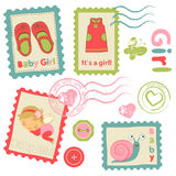 Baby girl announcement postal stamps Stock Photography