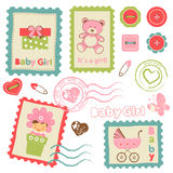 Baby girl announcement postal stamps Royalty Free Stock Image
