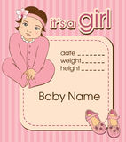Baby girl announcement shower card. Royalty Free Stock Photography
