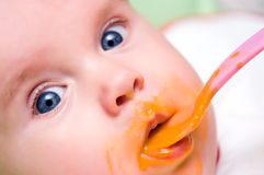 Baby girl appetite royalty free stock image