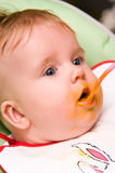 Baby girl appetite Stock Photos