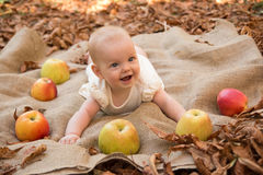 Baby girl with apples. Cute Baby girl with apples Royalty Free Stock Image