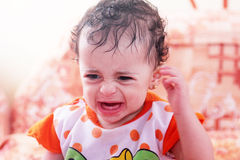Baby girl cry. Arabian angry baby girl crying Royalty Free Stock Images