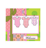 Baby girl arrival. Announcement greeting card Stock Photos