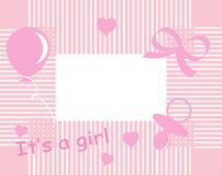 Baby girl arrival. Announcement card Stock Photo