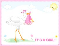 Baby girl arrival. Cute baby girl arrival card /party invitation Stock Images
