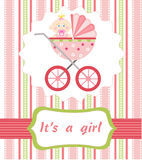 Baby girl arrival. On the pink background Stock Photography