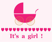 Baby Girl Arrival Announcement. Pink pram / stroller on pale pink background for new baby girl arrival announcement card, vector Royalty Free Stock Image