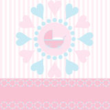 Baby Girl Arrival Announcement. Cute design for new baby girl arrival announcement card with space for copy, vector Stock Images