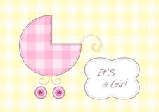 Baby girl arrival announcement. Stylized pram and text frame Royalty Free Stock Image