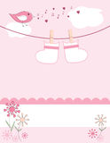 Baby girl arrival announcement card Royalty Free Stock Photos