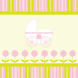 Baby Girl Arrival Announcement Card. Pretty pink and green flowers, stripes and stroller design for new baby girl arrival announcement card Stock Photos
