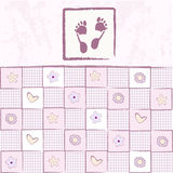 Baby girl arrival announcement card. In vector Stock Image