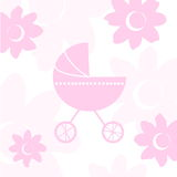 Baby girl arrival announcement card. Vector illustration of baby girl arrival announcement card Stock Image