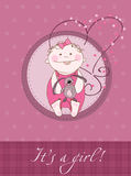 Baby Girl Arrival Announcement Card. With plush rabbit Stock Photos