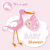 Baby girl arrival announcement card. Vector illustration Stock Image