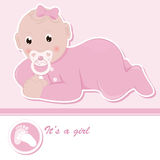 Baby girl arrival announcement card. Vector illustration Royalty Free Stock Photography