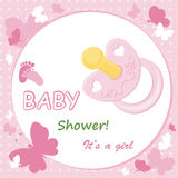 Baby girl arrival announcement card. With nipple and butterfly Stock Photos