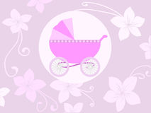 Baby girl arrival announcement card. Illustration of arrival announcement card Stock Images