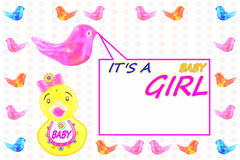 Baby girl arrival announcement card. For baby birth related message Royalty Free Stock Photos