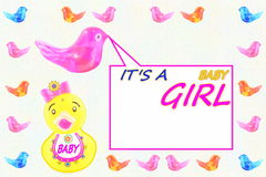 Baby girl arrival announcement card. For baby birth related message Stock Photos