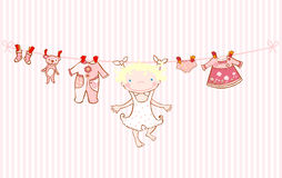 Baby girl arrival announcement card clothesline Stock Image