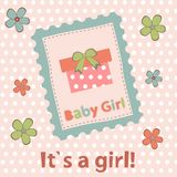 Baby girl arrival announcement card Stock Photography
