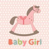 Baby girl arrival announcement card Stock Photo