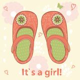 Baby girl arrival announcement card Royalty Free Stock Image