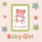 Baby girl arrival announcement card Royalty Free Stock Images
