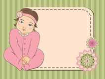 Baby girl arrival announcement card. Scrap book background. frame. Vector illustration Royalty Free Stock Photo