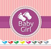 Baby girl arrival announcement card. Vector illustration of the Baby girl arrival announcement card Stock Images