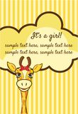 Baby girl arrival announcement card. Vector illustration of the Baby girl arrival announcement card Royalty Free Stock Photo