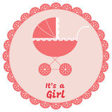 Baby girl arrival announcement card. Vector illustration Stock Photography