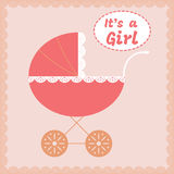 Baby girl arrival announcement card. Vector illustration Royalty Free Stock Images