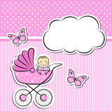 Baby girl arrival announcement. Editable vector illustration stock illustration