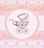 Baby girl arrival announcement. Raster illustration Stock Image