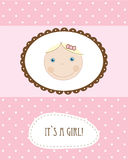 Baby girl arrival announcement retro card Royalty Free Stock Photography