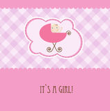 Baby girl arrival announcement retro card Royalty Free Stock Image
