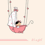 Baby girl arrival announcement retro card Stock Photo