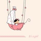 Baby girl arrival announcement retro card. (vector Stock Photo