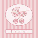 Baby girl arrival announcement (vector) Stock Photos