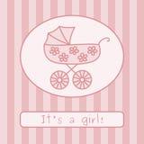 Baby girl arrival announcement (vector). Baby girl arrival announcement card. Vector illustration Stock Photos