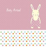 Baby girl arrival card. With rabbit Royalty Free Stock Photos