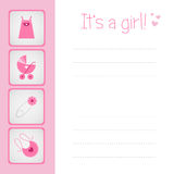 Baby girl arrival card Stock Images