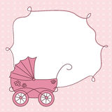 Baby girl arrival card. Baby girl arrival announcement retro card Royalty Free Stock Photo