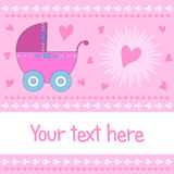 Baby girl arrival card Stock Photography