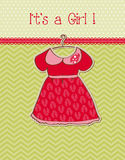 Baby Girl Arrival Card. Cute Baby Girl Arrival Card with lovely dress and Place for your text Stock Photos