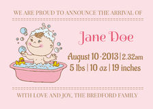 Baby Girl Arrival Card Stock Image
